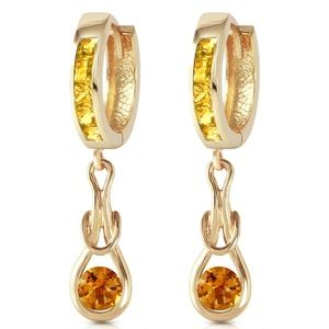 SOLID GOLD HUGGIE EARRINGS WITH DANGLING CITRINES